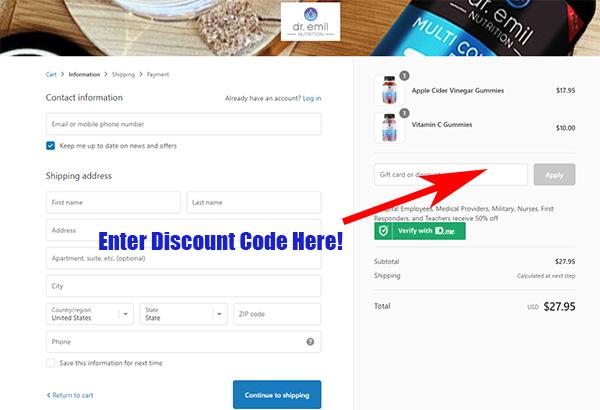 Dr Emil Nutrition discount code